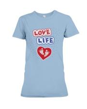 Love Life: footprint Premium Fit Ladies Tee front