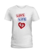 Love Life: footprint Ladies T-Shirt tile