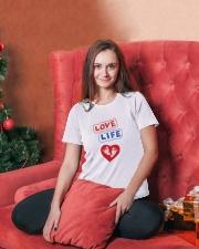 Love Life: footprint Ladies T-Shirt lifestyle-holiday-womenscrewneck-front-2