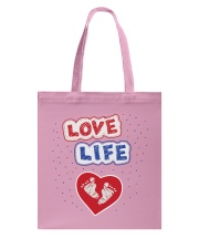 Love Life: footprint Tote Bag front