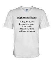 Ways To My Heart 1 Buy Me Tacos 2 Make Me Shirt V-Neck T-Shirt thumbnail