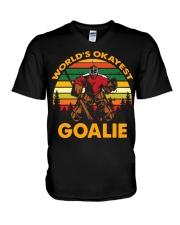 Vintage Hockey World's Okayest Goalie Shirt V-Neck T-Shirt thumbnail
