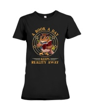 Owl A Book A Day Keeps Reality Away Shirt Premium Fit Ladies Tee thumbnail