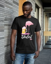 Flamingo Drinking Beer Es Eskaliert Eh Shirt Classic T-Shirt apparel-classic-tshirt-lifestyle-front-41-b