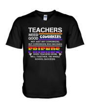 Teacher Needs Good Coworkers Not Coworkers Shirt V-Neck T-Shirt thumbnail