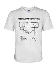 Sleeps With Shih Tzus Shirt V-Neck T-Shirt thumbnail