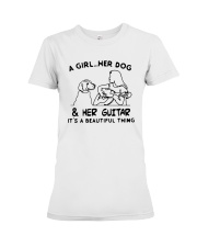A Girl Her Dog And Her Guitar Its Beautiful Shirt Premium Fit Ladies Tee thumbnail
