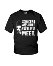 Skull Im The Nicest Asshole Youll Ever Meet Shirt Youth T-Shirt thumbnail