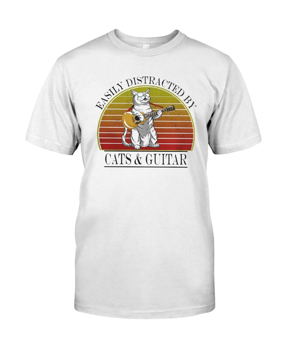 Vintage Easily Distracted By Cats And Guitar Shirt Classic T-Shirt