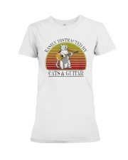 Vintage Easily Distracted By Cats And Guitar Shirt Premium Fit Ladies Tee thumbnail