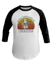 Vintage Easily Distracted By Cats And Guitar Shirt Baseball Tee thumbnail