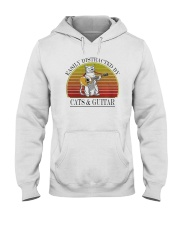Vintage Easily Distracted By Cats And Guitar Shirt Hooded Sweatshirt thumbnail