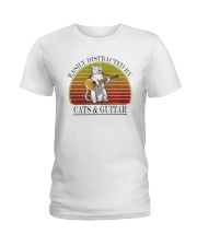 Vintage Easily Distracted By Cats And Guitar Shirt Ladies T-Shirt thumbnail