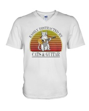 Vintage Easily Distracted By Cats And Guitar Shirt V-Neck T-Shirt thumbnail