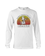 Vintage Easily Distracted By Cats And Guitar Shirt Long Sleeve Tee thumbnail
