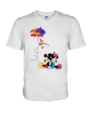 Flower And Dragonfly Mickey Let It Be Shirt V-Neck T-Shirt thumbnail