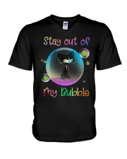 Black Cat Stay Out Of My Bubble Shirt V-Neck T-Shirt thumbnail