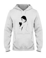 Girl Nude Hugging Black Cat Shirt Hooded Sweatshirt thumbnail