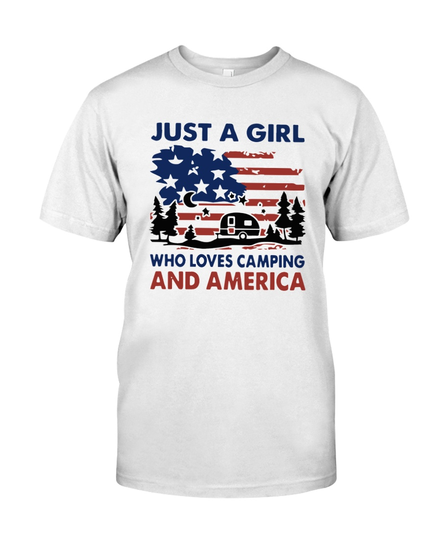 American Flag Just A Girl Who Loves Camping Shirt Classic T-Shirt