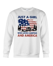 American Flag Just A Girl Who Loves Camping Shirt Crewneck Sweatshirt tile