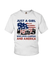 American Flag Just A Girl Who Loves Camping Shirt Youth T-Shirt tile
