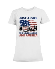 American Flag Just A Girl Who Loves Camping Shirt Premium Fit Ladies Tee thumbnail