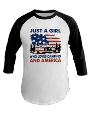 American Flag Just A Girl Who Loves Camping Shirt Baseball Tee tile