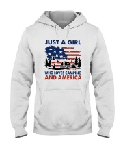 American Flag Just A Girl Who Loves Camping Shirt Hooded Sweatshirt tile