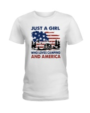 American Flag Just A Girl Who Loves Camping Shirt Ladies T-Shirt tile