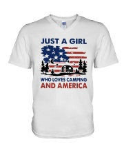 American Flag Just A Girl Who Loves Camping Shirt V-Neck T-Shirt tile