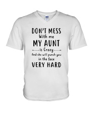 Don't Mess With Me My Aunt Is Crazy Shirt V-Neck T-Shirt thumbnail