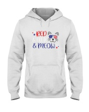 American Flag Red White And Meow Shirt Hooded Sweatshirt thumbnail