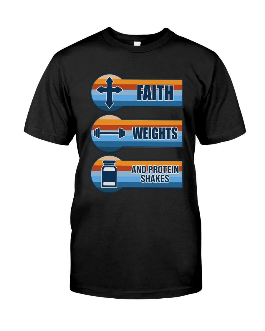 Vintage Faith Weights And Protein Shakes Shirt Premium Fit Mens Tee