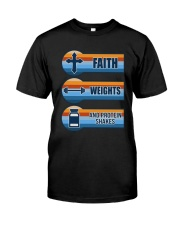 Vintage Faith Weights And Protein Shakes Shirt Premium Fit Mens Tee front
