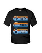 Vintage Faith Weights And Protein Shakes Shirt Youth T-Shirt thumbnail