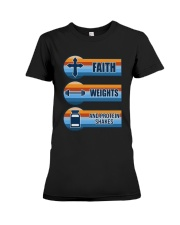 Vintage Faith Weights And Protein Shakes Shirt Premium Fit Ladies Tee thumbnail