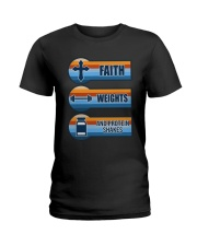 Vintage Faith Weights And Protein Shakes Shirt Ladies T-Shirt thumbnail
