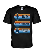 Vintage Faith Weights And Protein Shakes Shirt V-Neck T-Shirt thumbnail