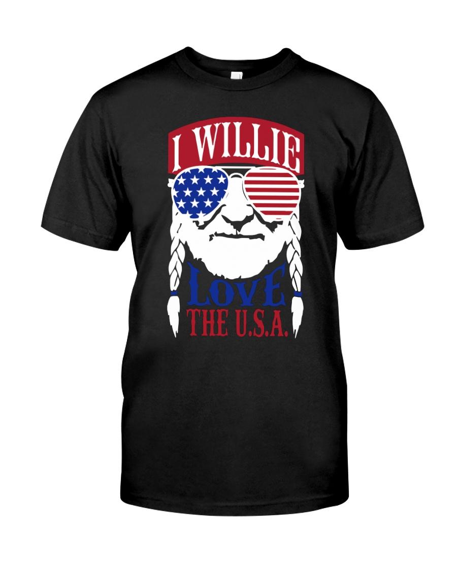 American Flag I Willie Love The Usa Shirt Premium Fit Mens Tee