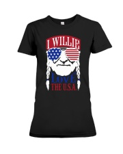American Flag I Willie Love The Usa Shirt Premium Fit Ladies Tee thumbnail