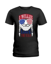 American Flag I Willie Love The Usa Shirt Ladies T-Shirt thumbnail