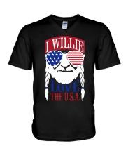 American Flag I Willie Love The Usa Shirt V-Neck T-Shirt thumbnail
