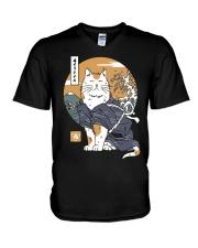 Samurai Cat Shirt V-Neck T-Shirt thumbnail
