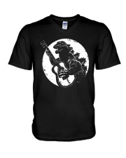 Godzilla Playing Guitar Shirt V-Neck T-Shirt thumbnail