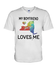 Lgbt My Boyfriend In New York Loves Me Shirt V-Neck T-Shirt thumbnail