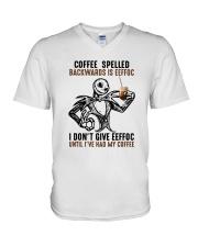 Jack Skellington Coffee Spelled Backwards Is Shirt V-Neck T-Shirt thumbnail