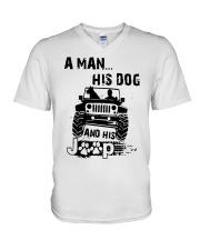 A Man His Dog And His Jeep Shirt V-Neck T-Shirt thumbnail