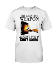 The Greatest Weapon Against Evil Is Gods Shirt Premium Fit Mens Tee thumbnail