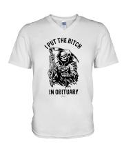 Death I Put The Bitch In Obituary Shirt V-Neck T-Shirt thumbnail