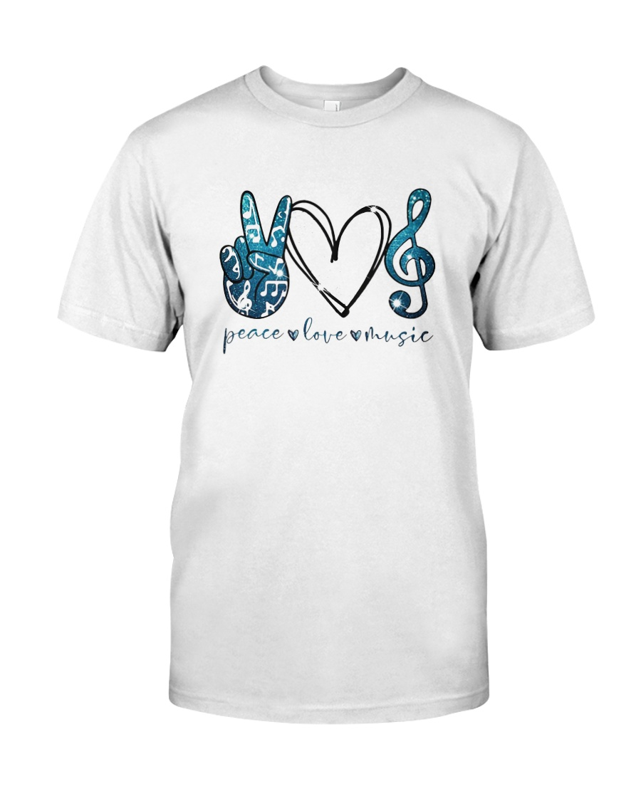 Key Sol Blue Peace Love Music Shirt Classic T-Shirt